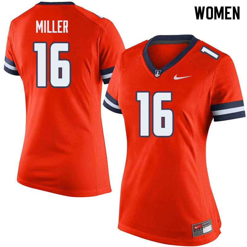Women #16 Cam Miller Illinois Fighting Illini College Football Jerseys Sale-Orange
