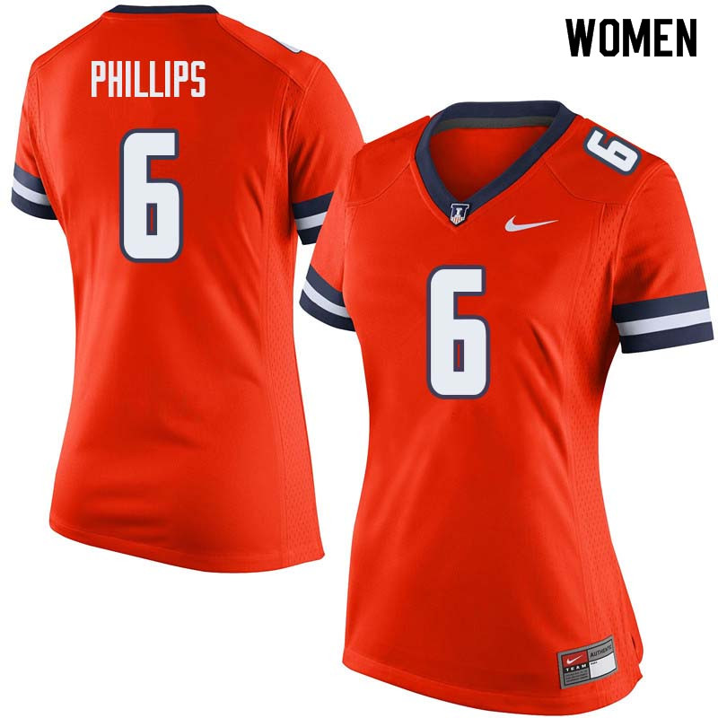 Women #6 Carroll Phillips Illinois Fighting Illini College Football Jerseys Sale-Orange