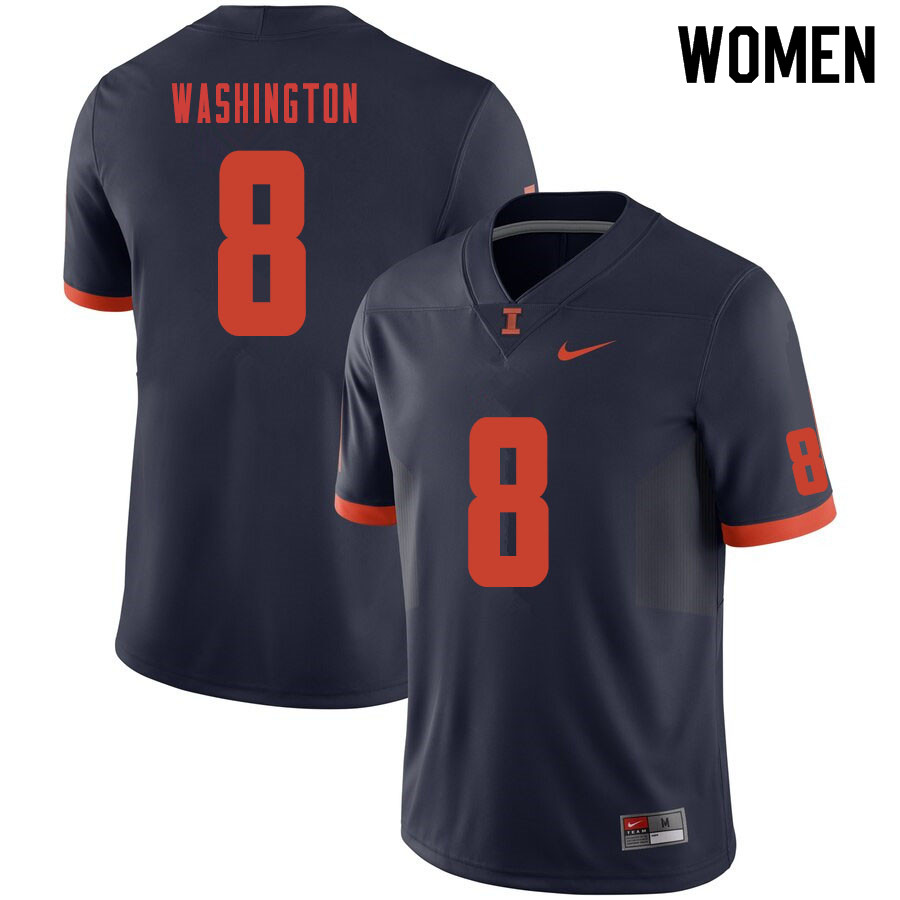 Women #8 Casey Washington Illinois Fighting Illini College Football Jerseys Sale-Navy
