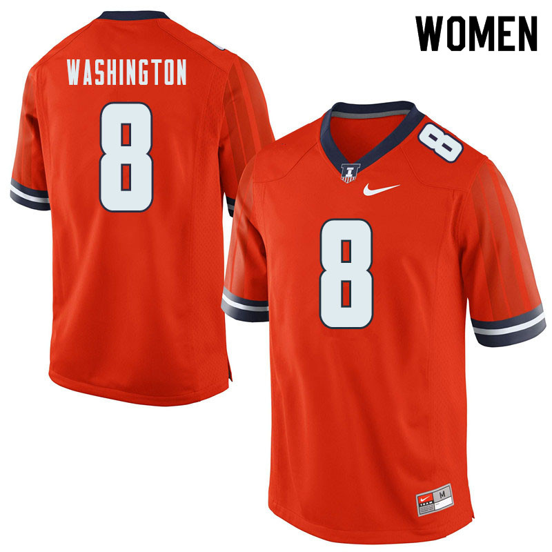 Women #8 Casey Washington Illinois Fighting Illini College Football Jerseys Sale-Orange
