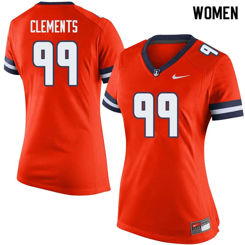 Women #99 Chunky Clements Illinois Fighting Illini College Football Jerseys Sale-Orange