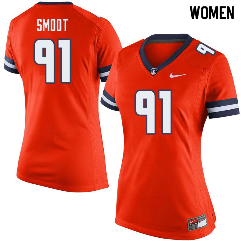 Women #91 Dawuane Smoot Illinois Fighting Illini College Football Jerseys Sale-Orange