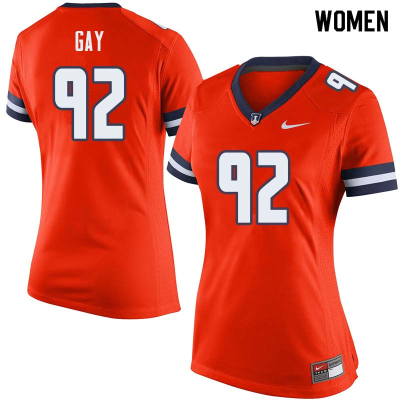 Women #92 Isaiah Gay Illinois Fighting Illini College Football Jerseys Sale-Orange