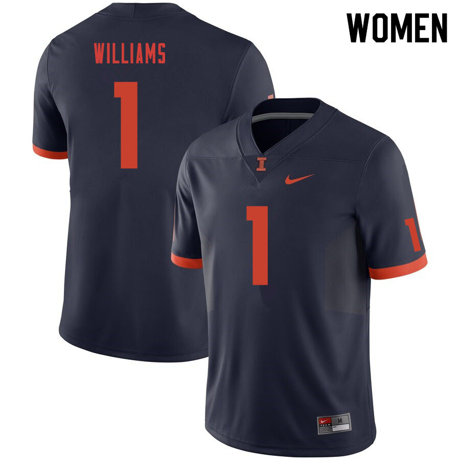 Women #1 Isaiah Williams Illinois Fighting Illini College Football Jerseys Sale-Navy