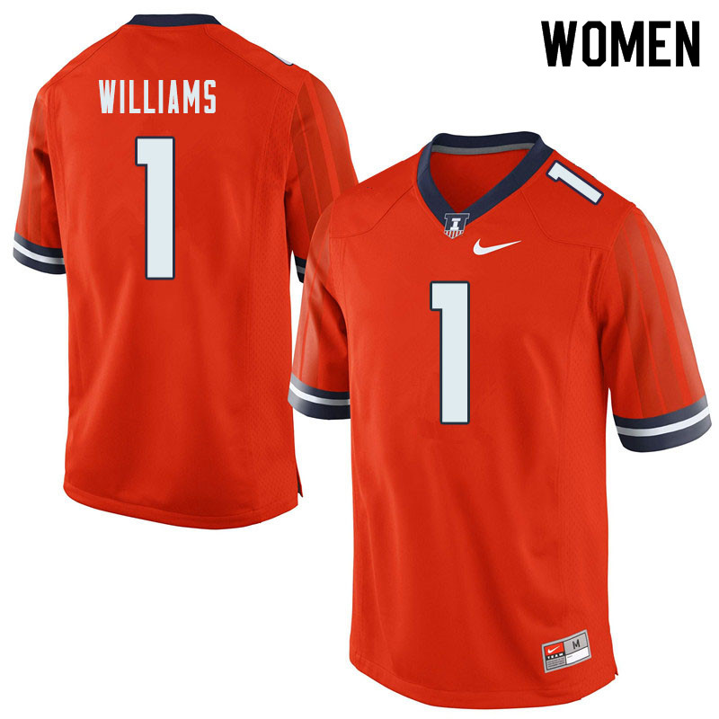 Women #1 Isaiah Williams Illinois Fighting Illini College Football Jerseys Sale-Orange