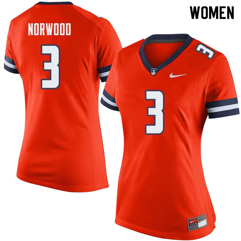 Women #3 Jakari Norwood Illinois Fighting Illini College Football Jerseys Sale-Orange