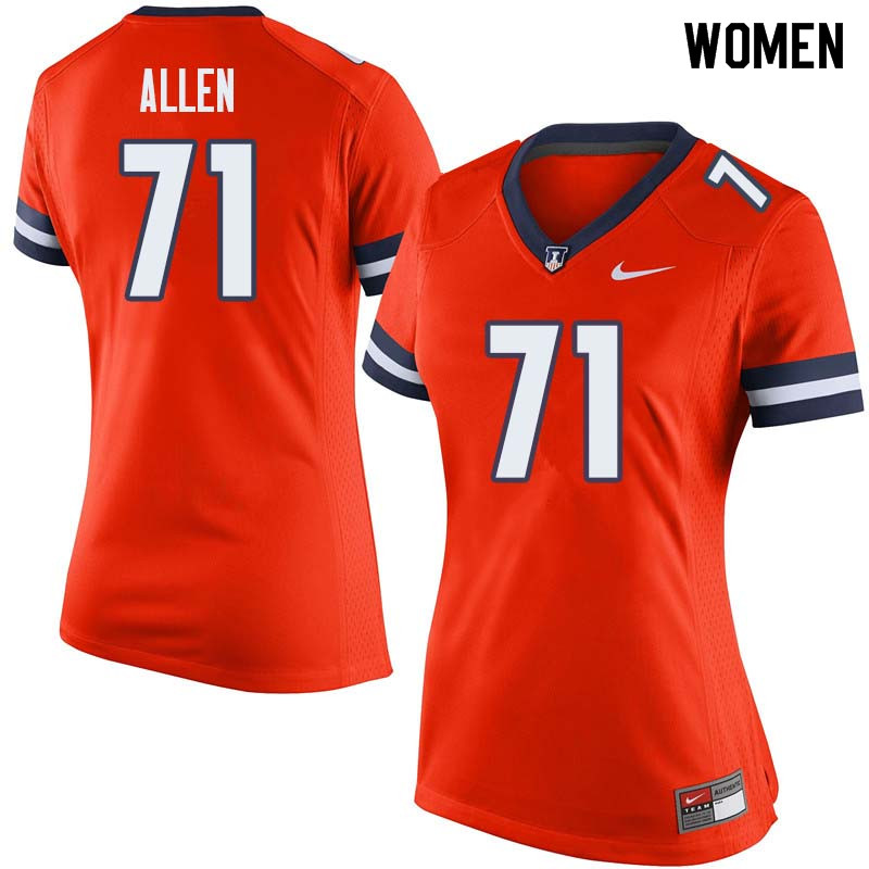 Women #71 Jeff Allen Illinois Fighting Illini College Football Jerseys Sale-Orange