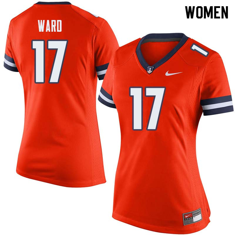 Women #17 Jihad Ward Illinois Fighting Illini College Football Jerseys Sale-Orange