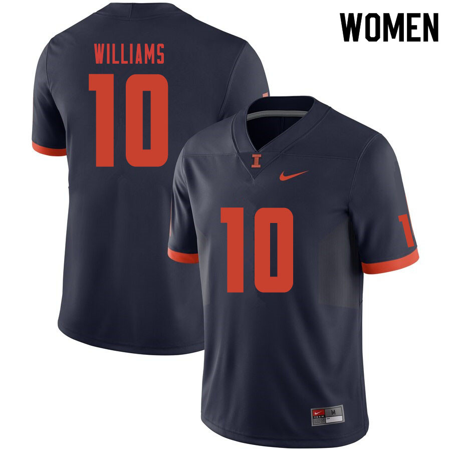 Women #10 Justice Williams Illinois Fighting Illini College Football Jerseys Sale-Navy