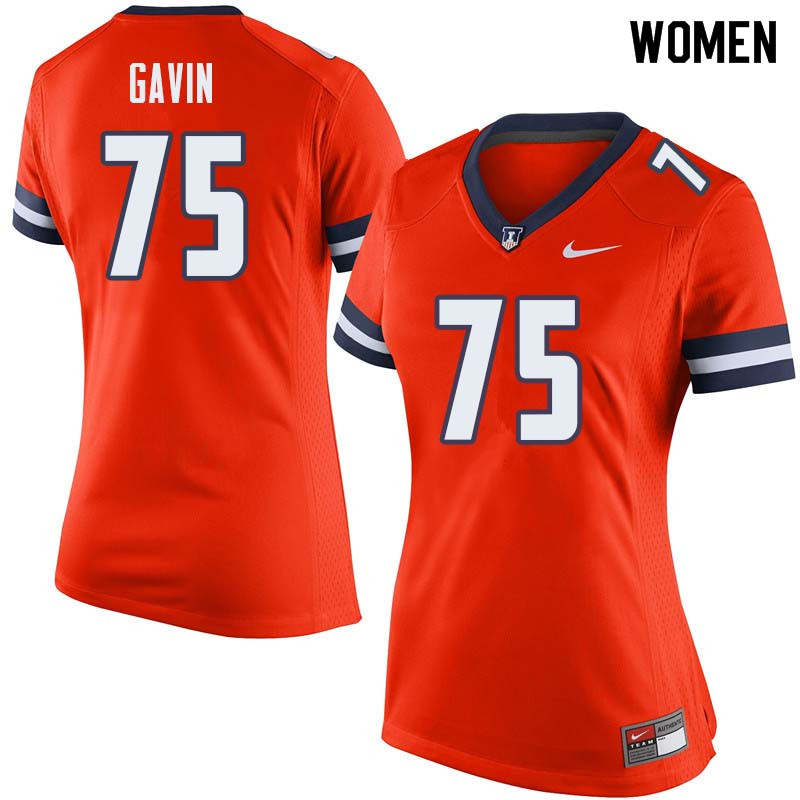 Women #75 Kurt Gavin Illinois Fighting Illini College Football Jerseys Sale-Orange