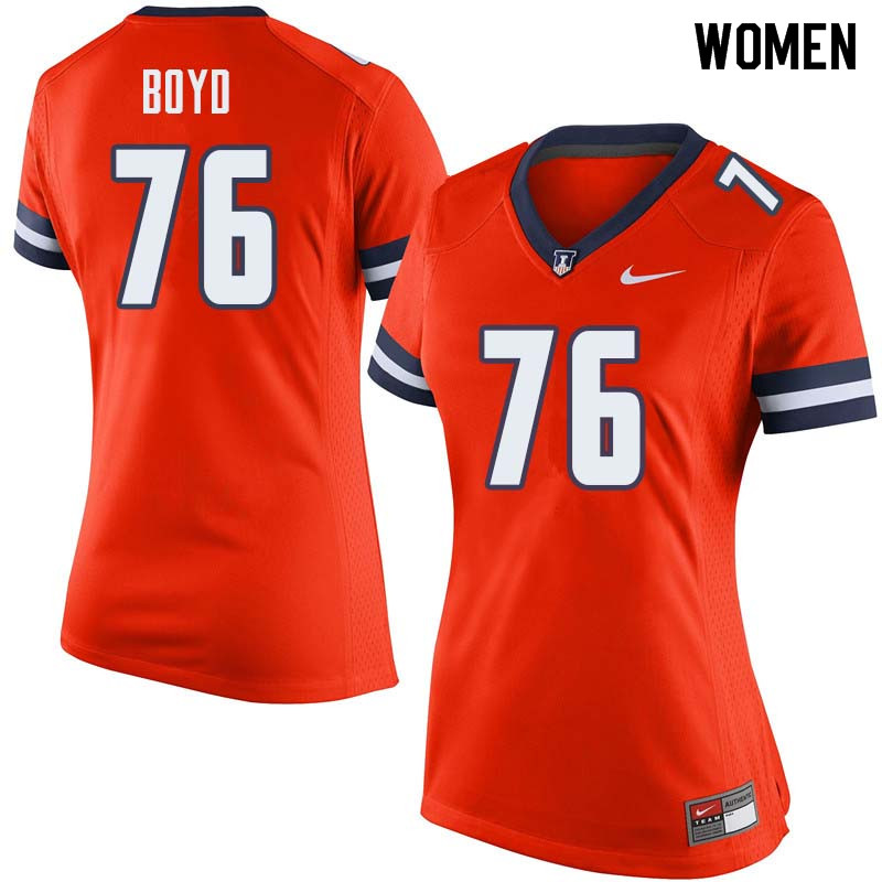 Women #76 Larry Boyd Illinois Fighting Illini College Football Jerseys Sale-Orange