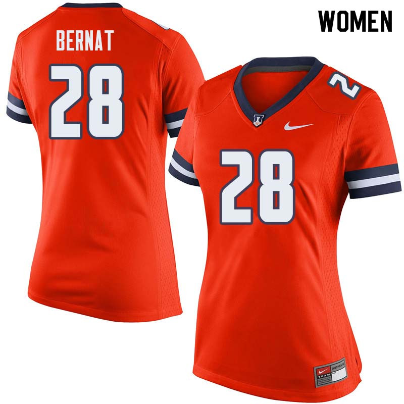 Women #28 Nolan Bernat Illinois Fighting Illini College Football Jerseys Sale-Orange