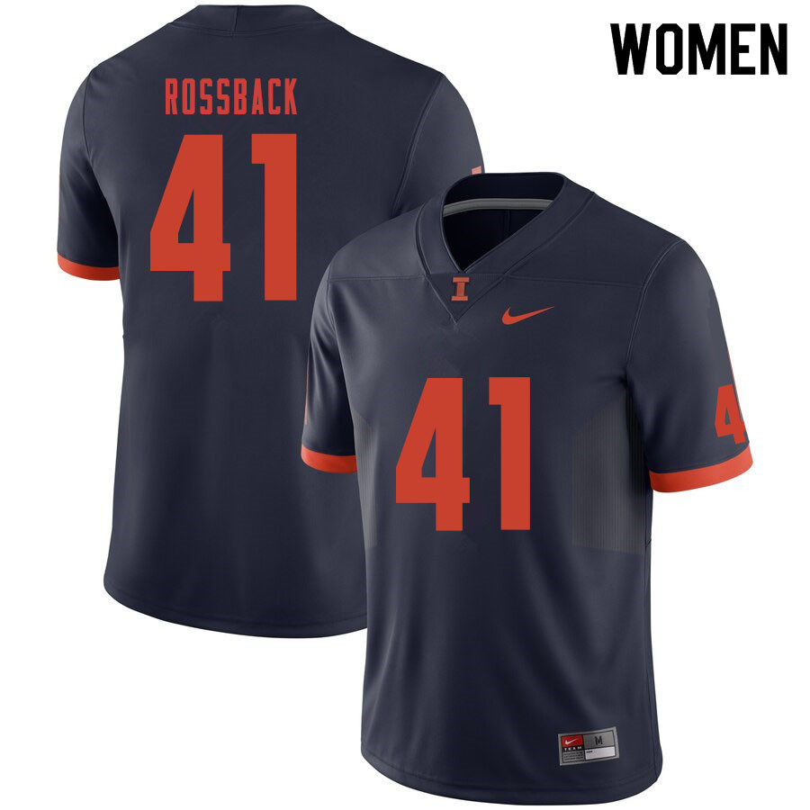 Women #41 Nolan Rossback Illinois Fighting Illini College Football Jerseys Sale-Navy