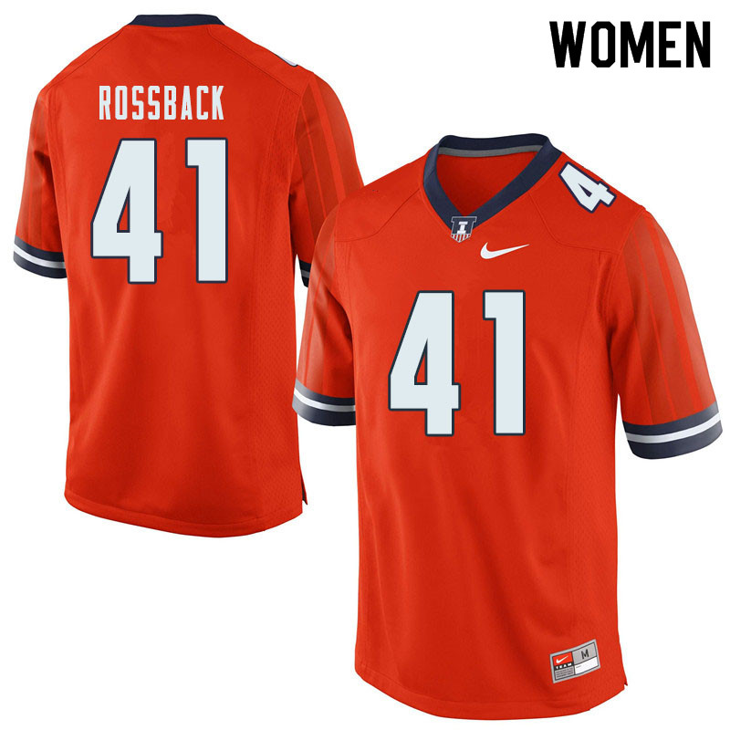 Women #41 Nolan Rossback Illinois Fighting Illini College Football Jerseys Sale-Orange