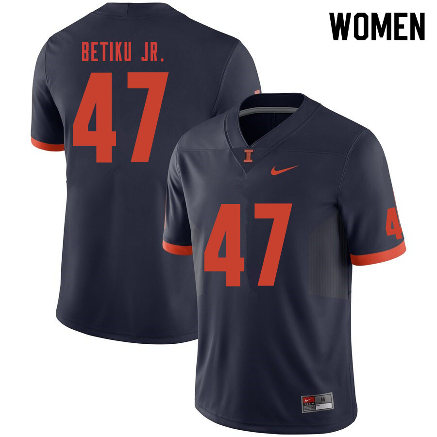 Women #47 Oluwole Betiku Jr. Illinois Fighting Illini College Football Jerseys Sale-Navy