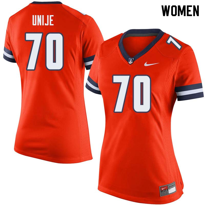 Women #70 Reuben Unije Illinois Fighting Illini College Football Jerseys Sale-Orange