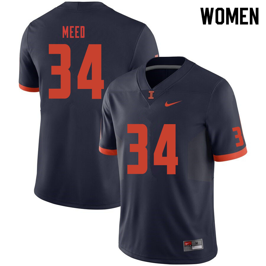 Women #34 Ryan Meed Illinois Fighting Illini College Football Jerseys Sale-Navy