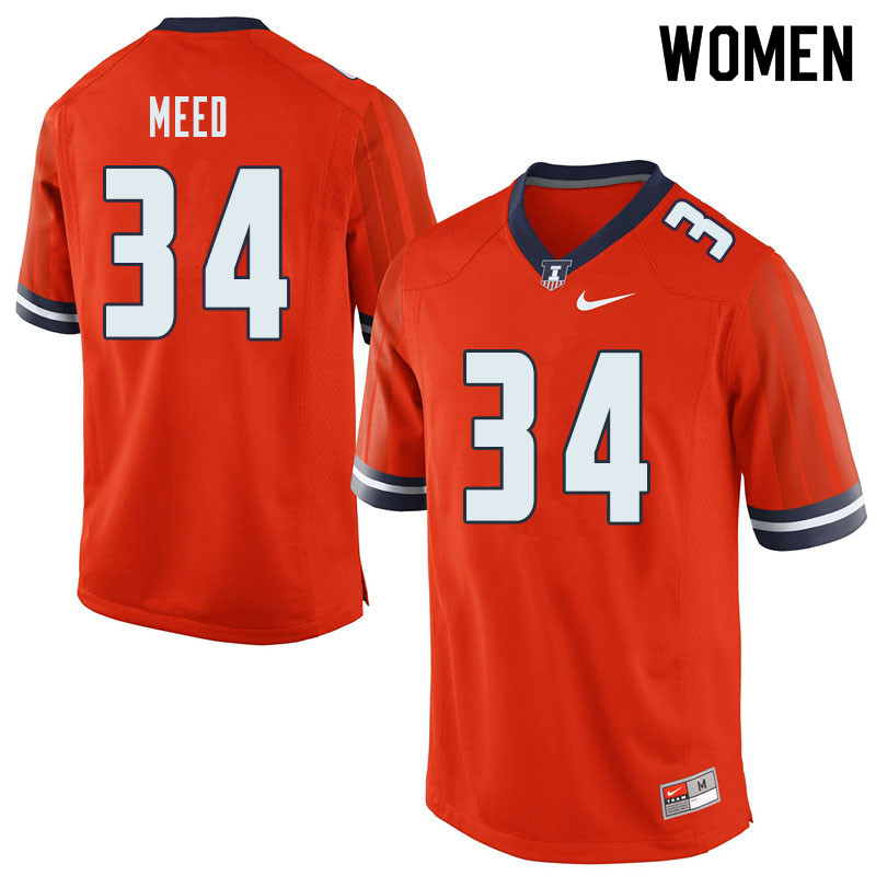 Women #34 Ryan Meed Illinois Fighting Illini College Football Jerseys Sale-Orange