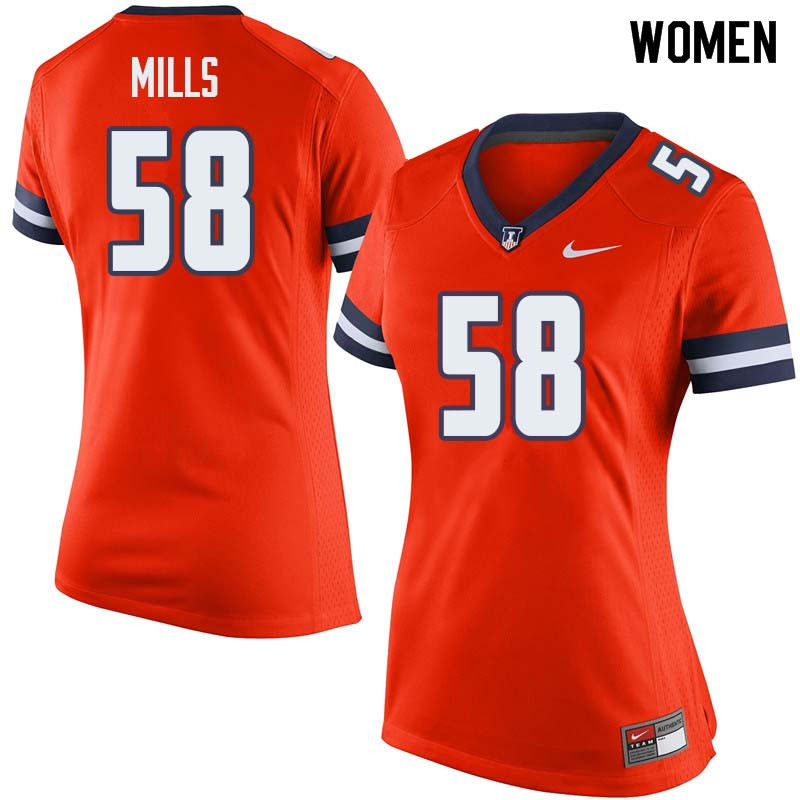 Women #58 Sean Mills Illinois Fighting Illini College Football Jerseys Sale-Orange