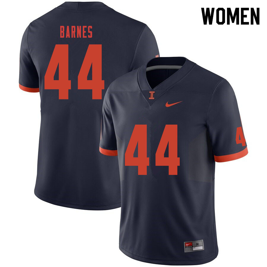 Women #44 Tarique Barnes Illinois Fighting Illini College Football Jerseys Sale-Navy