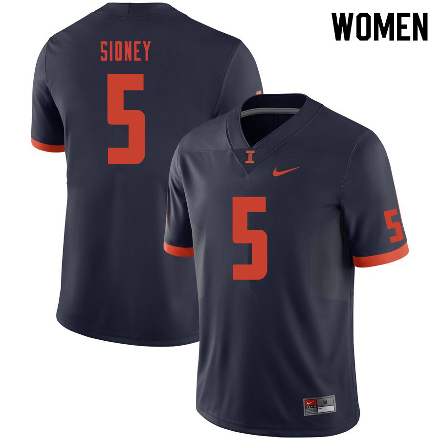 Women #5 Trevon Sidney Illinois Fighting Illini College Football Jerseys Sale-Navy