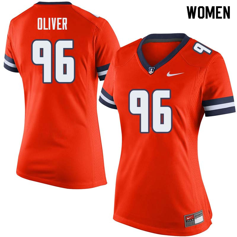 Women #96 Tymir Oliver Illinois Fighting Illini College Football Jerseys Sale-Orange
