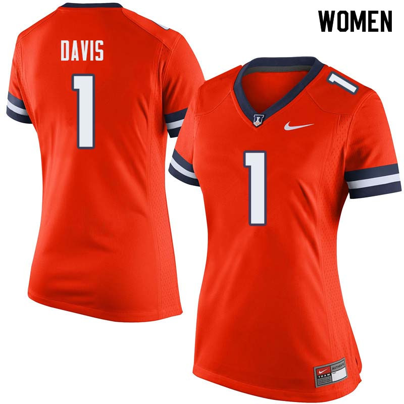 Women #1 Vontae Davis Illinois Fighting Illini College Football Jerseys Sale-Orange