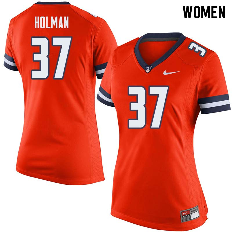 Women #37 Zac Holman Illinois Fighting Illini College Football Jerseys Sale-Orange