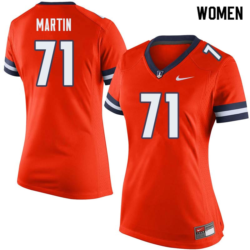 Women #71 Zeke Martin Illinois Fighting Illini College Football Jerseys Sale-Orange