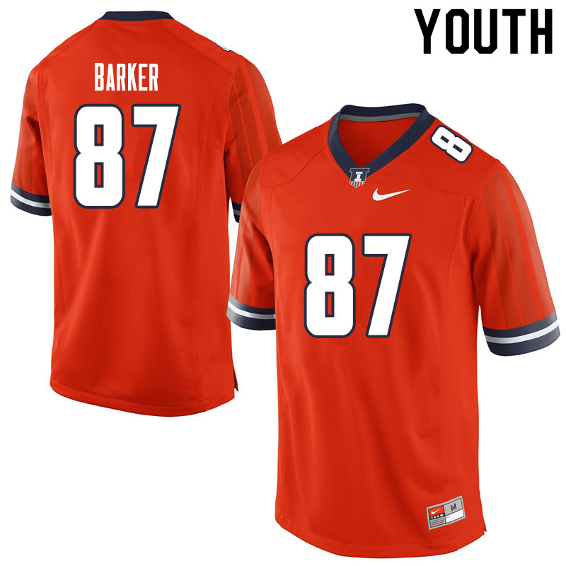 Youth #87 Daniel Barker Illinois Fighting Illini College Football Jerseys Sale-Orange