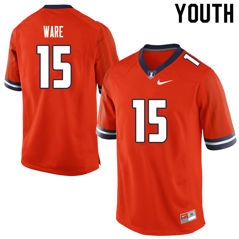 Youth #15 Delano Ware Illinois Fighting Illini College Football Jerseys Sale-Orange
