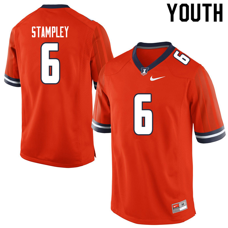 Youth #6 Dominic Stampley Illinois Fighting Illini College Football Jerseys Sale-Orange