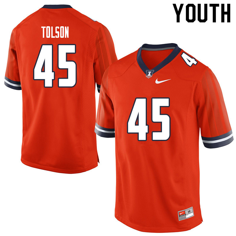Youth #45 Khalan Tolson Illinois Fighting Illini College Football Jerseys Sale-Orange