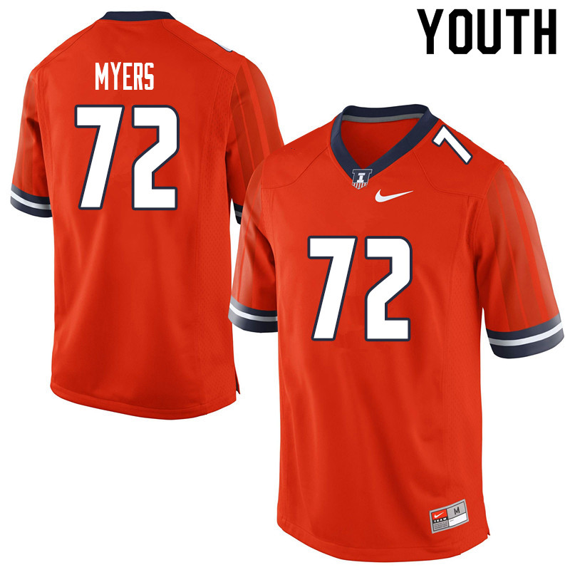 Youth #72 Kievan Myers Illinois Fighting Illini College Football Jerseys Sale-Orange