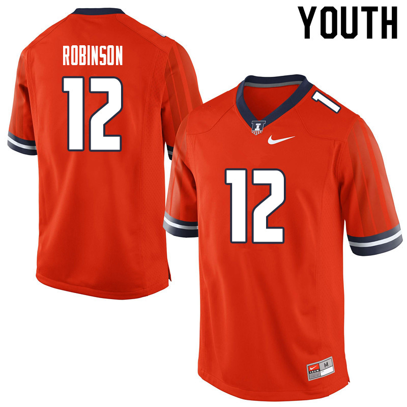 Youth #12 Matt Robinson Illinois Fighting Illini College Football Jerseys Sale-Orange