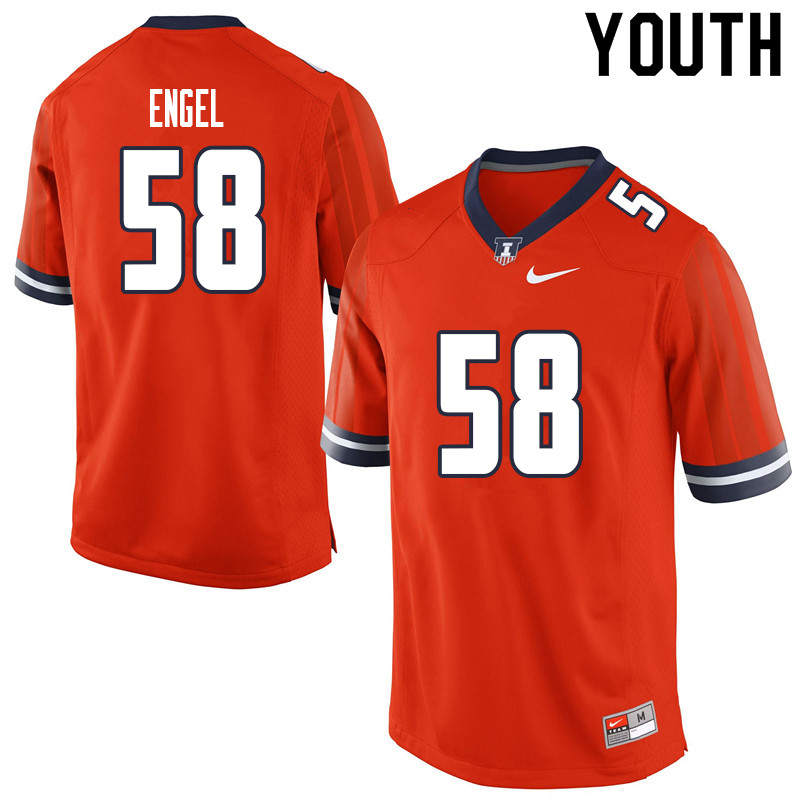 Youth #58 Preston Engel Illinois Fighting Illini College Football Jerseys Sale-Orange