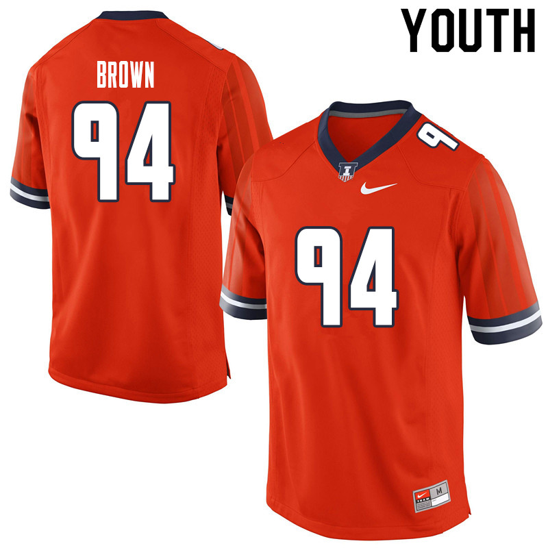 Youth #94 Verdis Brown Illinois Fighting Illini College Football Jerseys Sale-Orange
