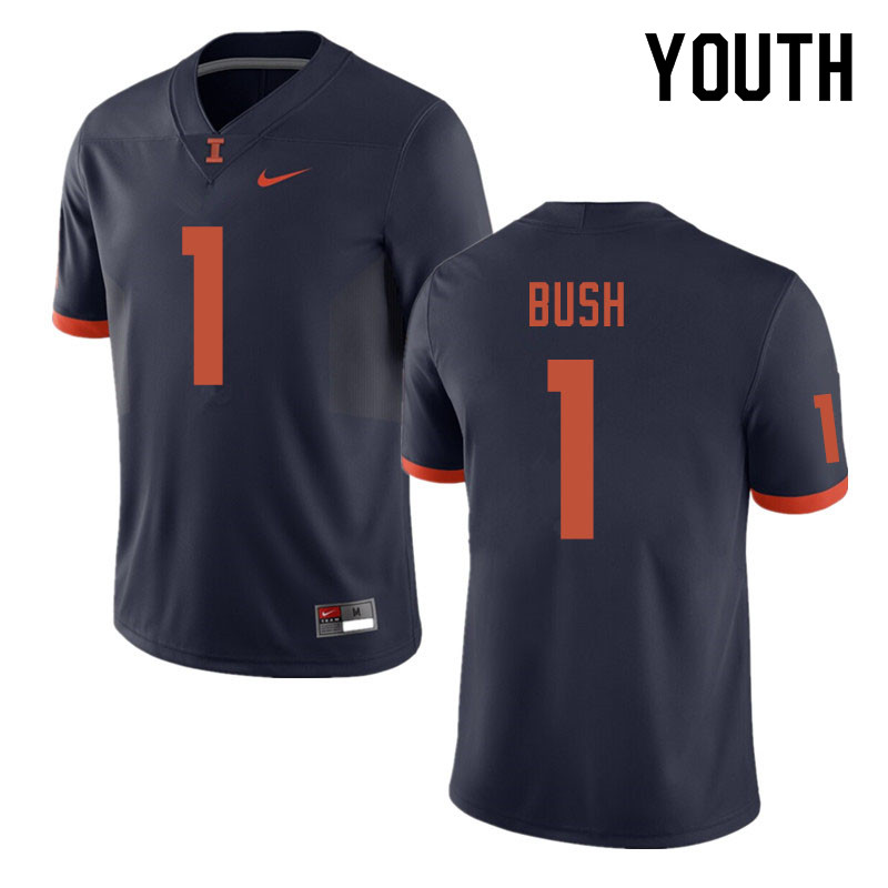 Youth #1 AJ Bush Illinois Fighting Illini College Football Jerseys Sale-Navy