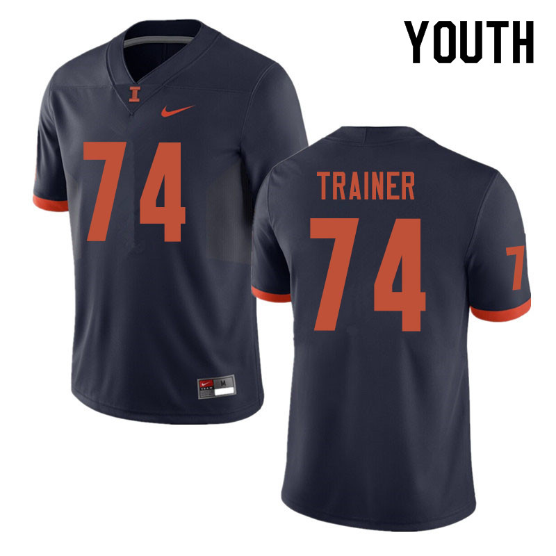 Youth #74 Andrew Trainer Illinois Fighting Illini College Football Jerseys Sale-Navy