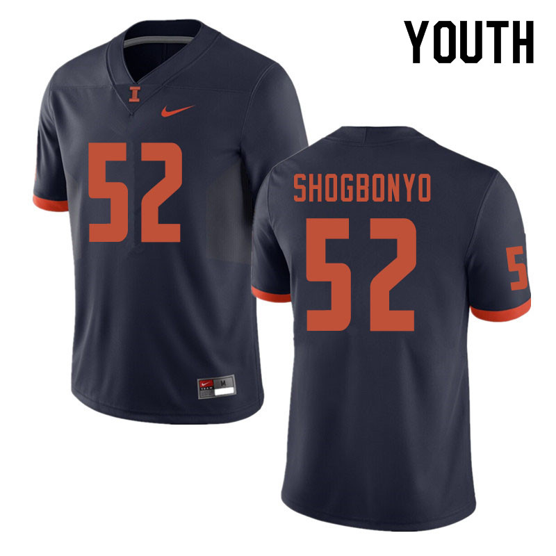 Youth #52 Ayo Shogbonyo Illinois Fighting Illini College Football Jerseys Sale-Navy