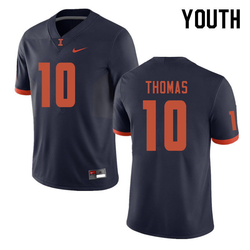 Youth #10 Cam Thomas Illinois Fighting Illini College Football Jerseys Sale-Navy
