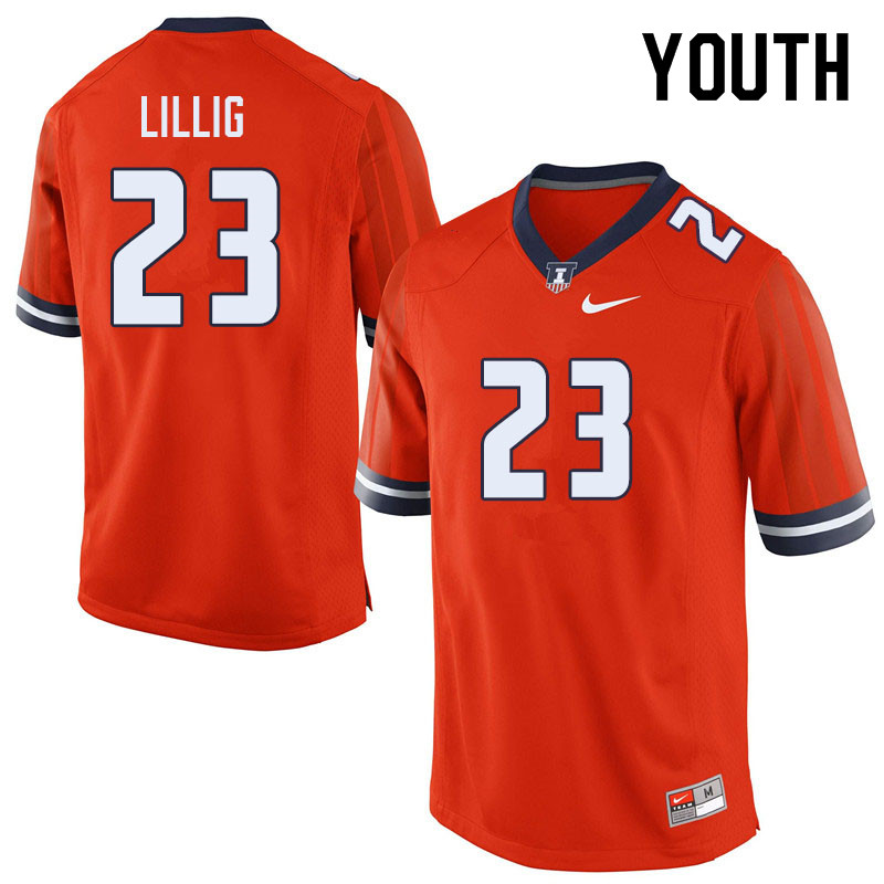 Youth #23 Conner Lillig Illinois Fighting Illini College Football Jerseys Sale-Orange