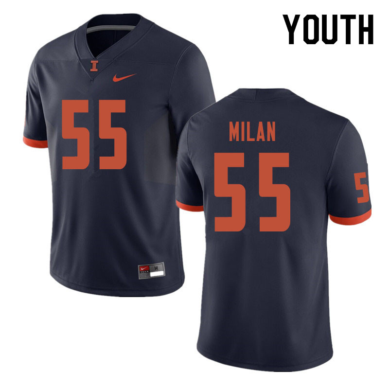 Youth #55 Jamal Milan Illinois Fighting Illini College Football Jerseys Sale-Navy