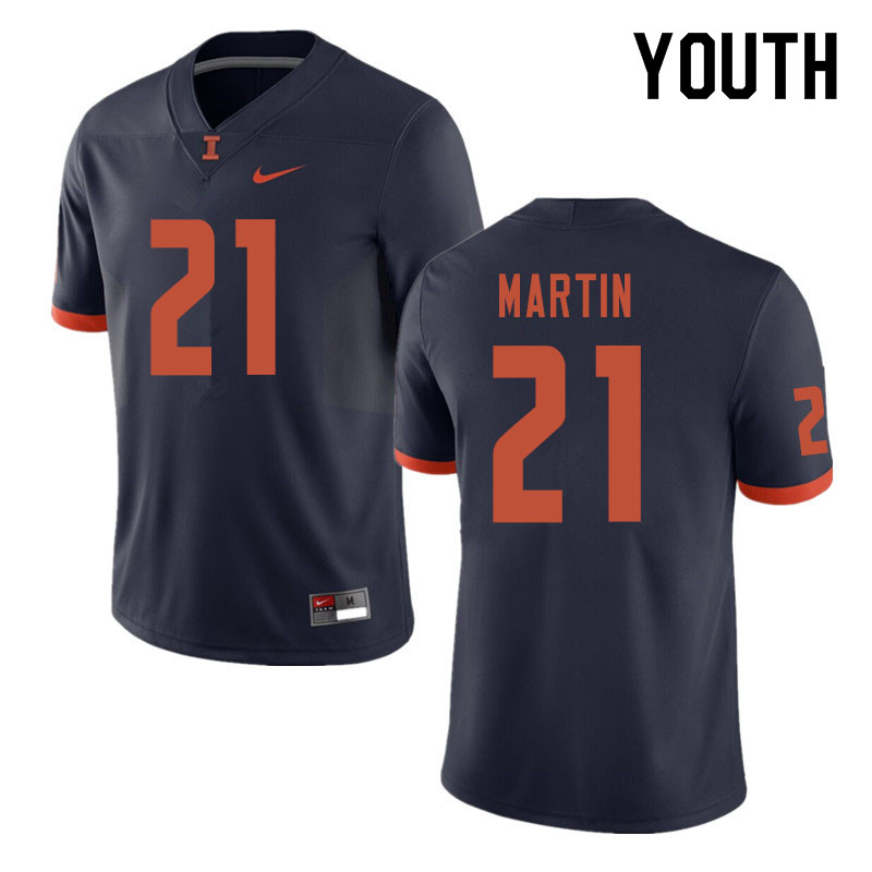 Youth #21 Jartavius Martin Illinois Fighting Illini College Football Jerseys Sale-Navy