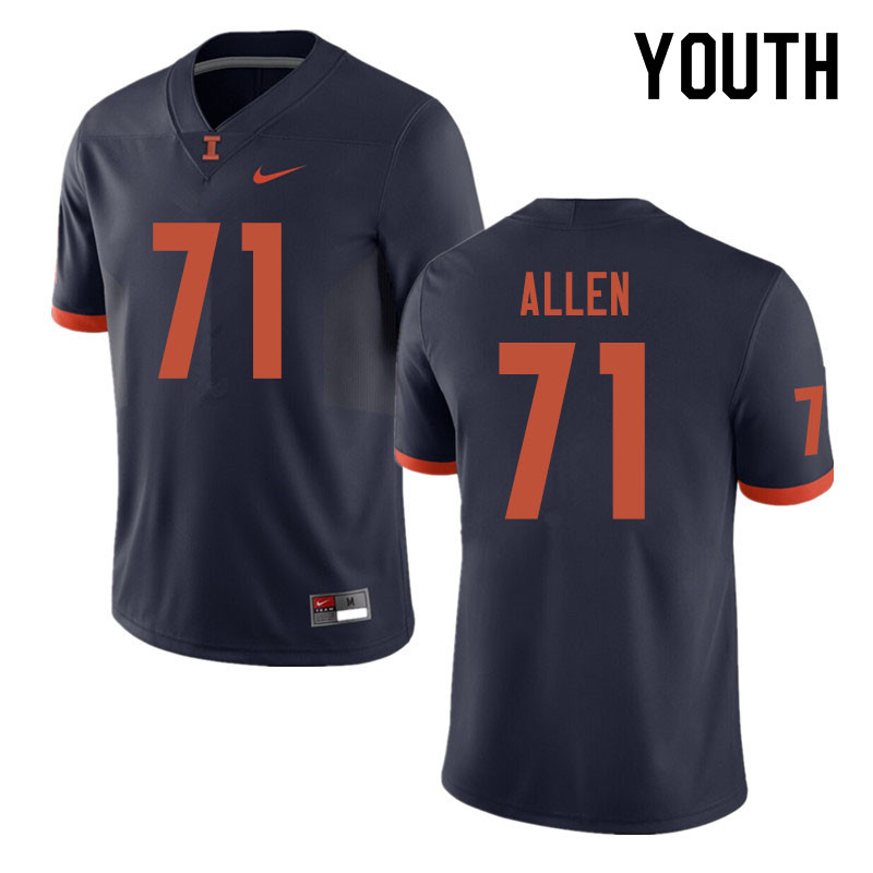 Youth #71 Jeff Allen Illinois Fighting Illini College Football Jerseys Sale-Navy