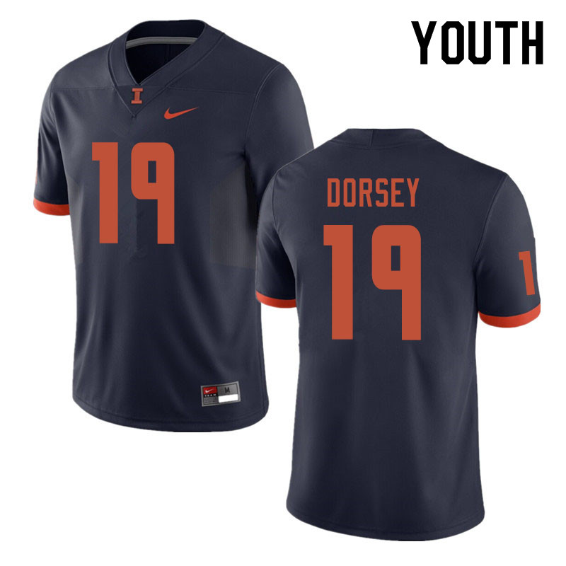 Youth #19 Lou Dorsey Illinois Fighting Illini College Football Jerseys Sale-Navy