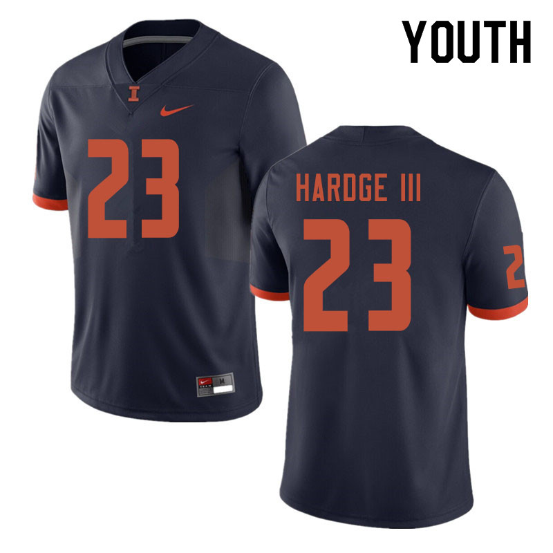 Youth #23 Ron Hardge III Illinois Fighting Illini College Football Jerseys Sale-Navy