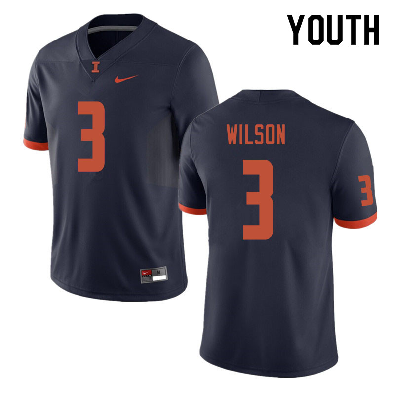 Youth #3 Tavon Wilson Illinois Fighting Illini College Football Jerseys Sale-Navy