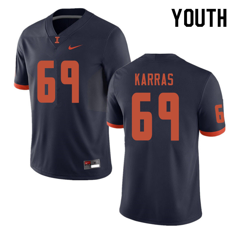 Youth #69 Ted Karras Illinois Fighting Illini College Football Jerseys Sale-Navy