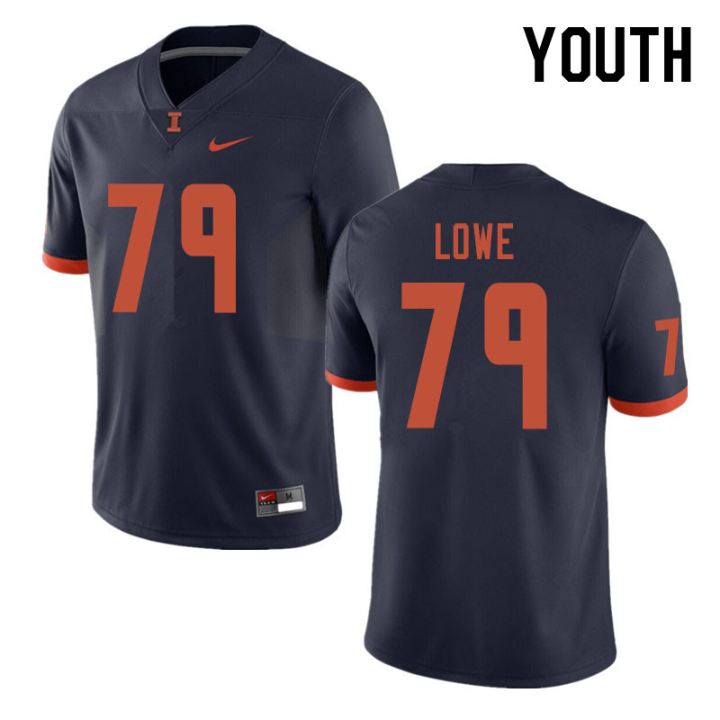 Youth #79 Vederian Lowe Illinois Fighting Illini College Football Jerseys Sale-Navy